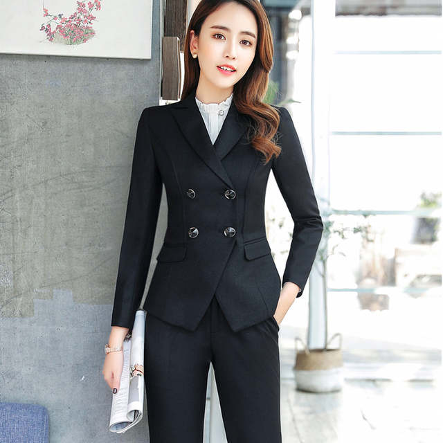 ee29b24f1f42 placeholder High quality business skirt suits set spring Slim fashion  Double Breasted long sleeve blazer and skirt