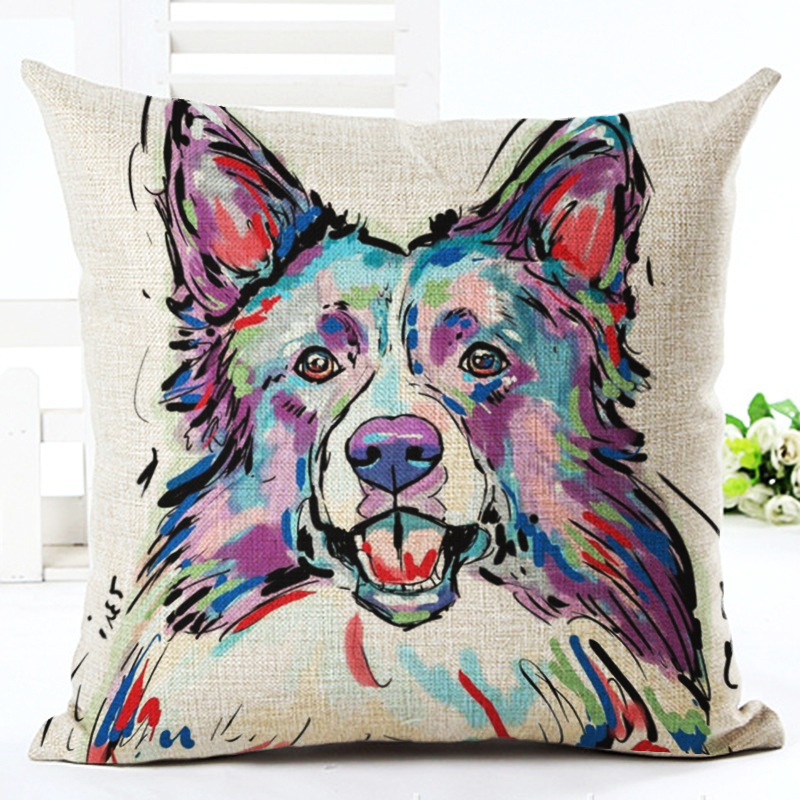Bullterrier Cushion Covers Dog Pet Soft Linen Material Pillow Cases For Kids Baby Girl Boy Bedroom Decorative Cushion Cover