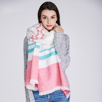 2017New Fashion Casual Woman Blue Assnd White Pink Striped Imitation Cashmere Winter Bandana Scarf Shawl Femme