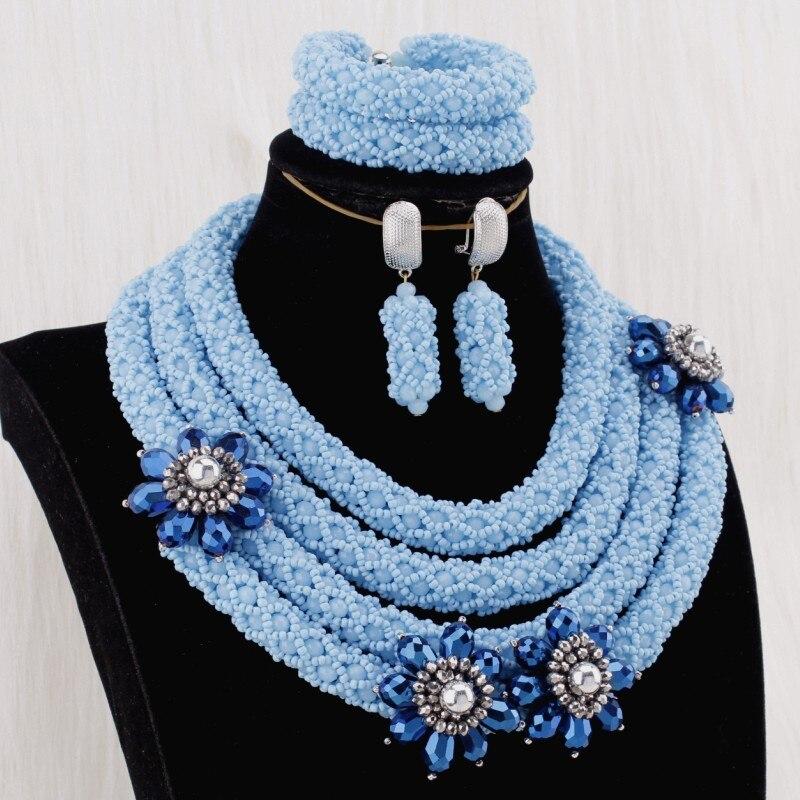 4 UJewelry 2019 Mulheres Jóias Africano 4 Camadas Mar Azul Rodada Colar Conjunto Com Flores Azuis Escuras Em Jóias Nigeriano conjunto de Noiva - 2