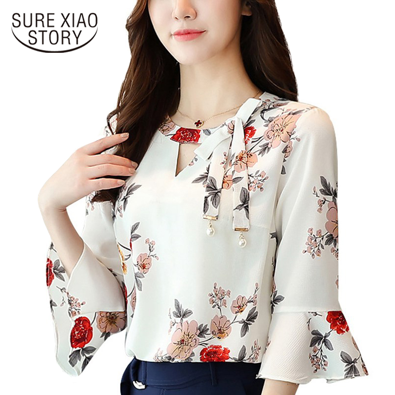 2018 New flower printing Women   Blouses     shirt   flare Sleeve Chiffon women's clothing casual V Collar bow women tops Blusas D278 30
