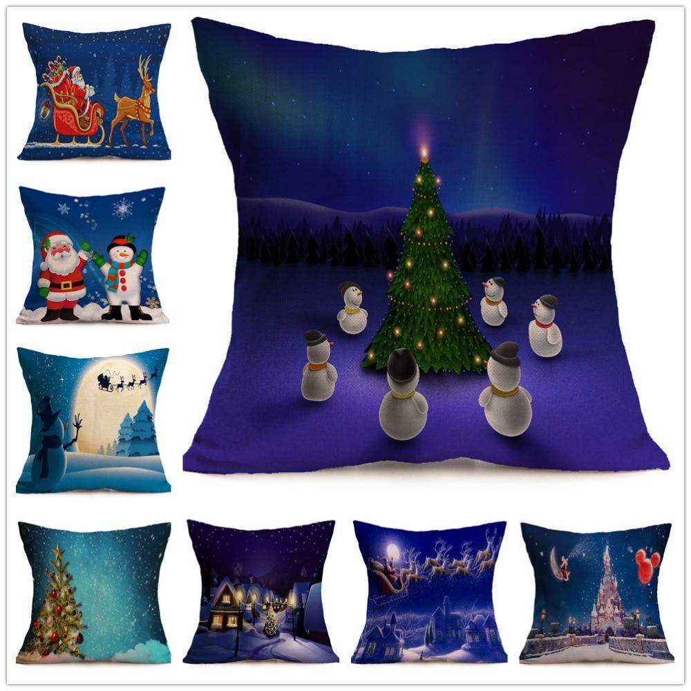 Fashion Pillow Cover Linen Blend Car Throw Pillows Christmas Decorative Cotton Sofa Cushion Cover 43x43cm Cojines Capa Almofada