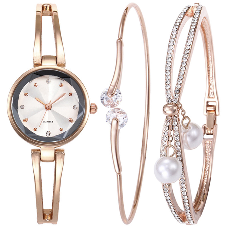 Fashion Zinc Alloy Bracelet Watch Set 2018 Luxury Rhinestone Steel Strip Watch Set For Women Jewelry And Watches Dropshipping sexy plunging neck 3 4 sleeve hollow out tassels embellished cover up for women