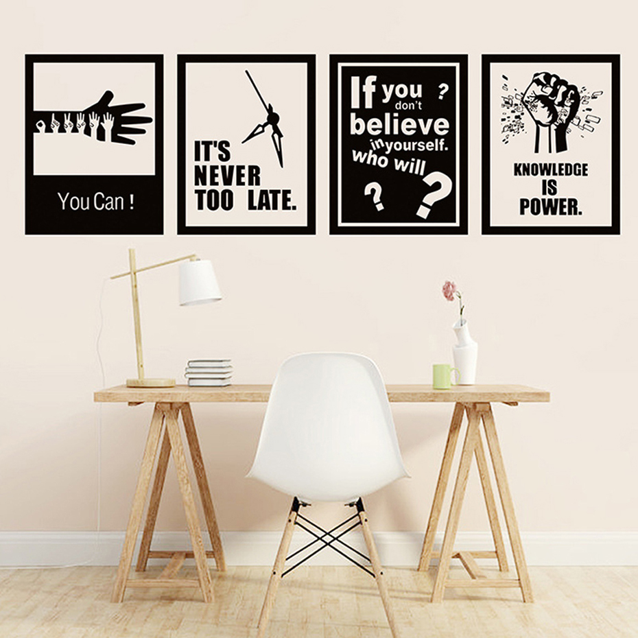 New Inspiring Quotes Vinyl Wall Art Sticker Removable Mural Decals Poster for Office School Company for Living Room Home Decor