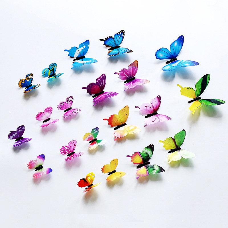 12Pcs/set 3D Butterfly Wall Sticker Living Room Home Decor Butterflies On The Wall For Decoration Fridge Stickers Wallpaper