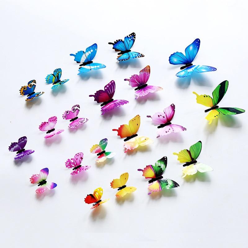 12Pcs/set 3D Butterfly Wall Sticker Living Room Home Decor Butterflies On The Wall For Decoration Fridge Stickers Wallpaper