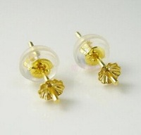 Solid AU750 Earrings Stud Mounting with 3.5mm Bead Cap, Can Fit 6 8 MM Beads For DIY Pearl Gem Earring Fitting 2pairs/lot