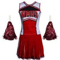 Vendita Caldo di Trasporto libero Signore Costume Fancy Dress Up Red Cheerleader glee scuola ragazza costume top + skirt s-3xl