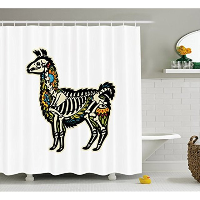 Vixm Llama Shower Curtain Sugar Skull Style Alpaca Animal Skeleton Colorful Floral Details Day Of The Dead Fabric Bath Curtains