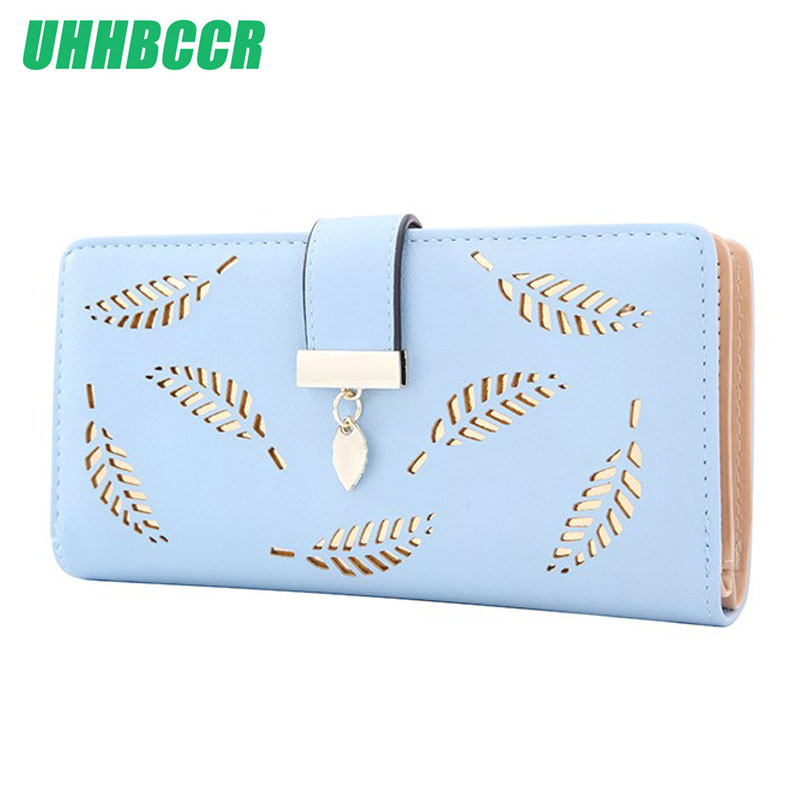 2018 Design Women's Purse Zipper Leather Ladies Wallet Women Luxury Brand Small Female Wallet Hollow Leaves For Credit Cards