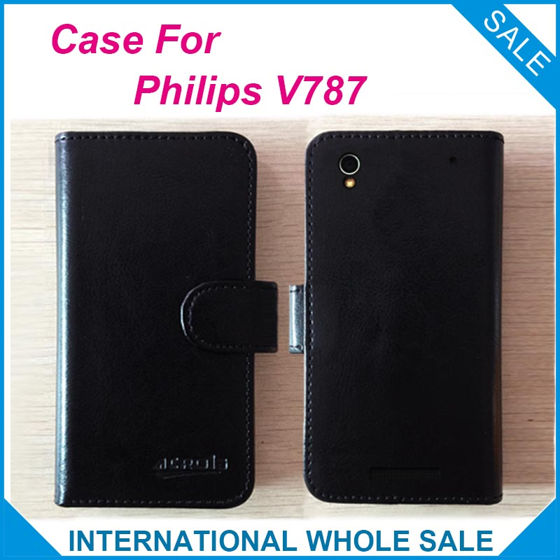 Factory Price High Quality Leather Exclusive Flip Cover Phone Wallet Bag for <font><b>Philips</b></font> <font><b>V787</b></font> Tracking number image