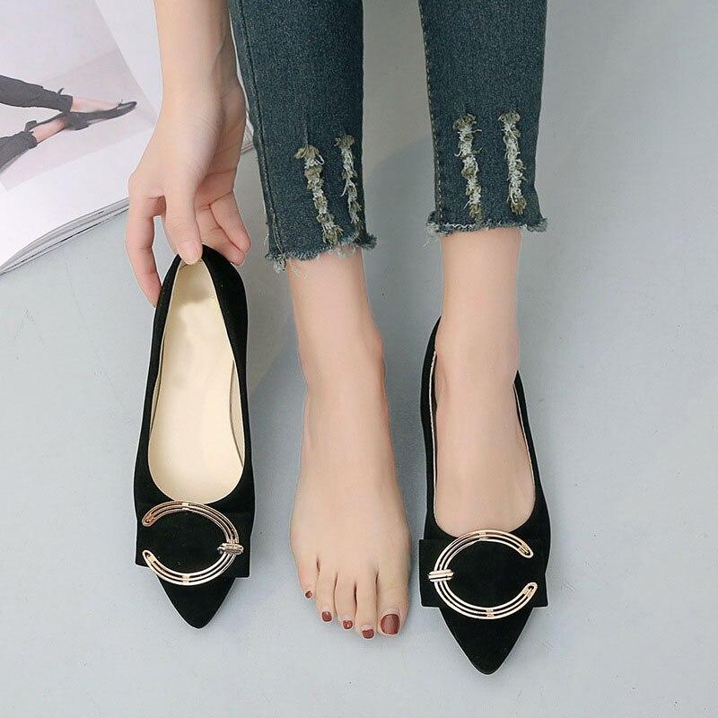 Dames Appartements Haute noir Beige Pointu Femmes Ballet Qualité Bateau Chaussures Métal rose Mode Bailehou marron Bout Glissement Mocassins Femme Sur qwZ5AR