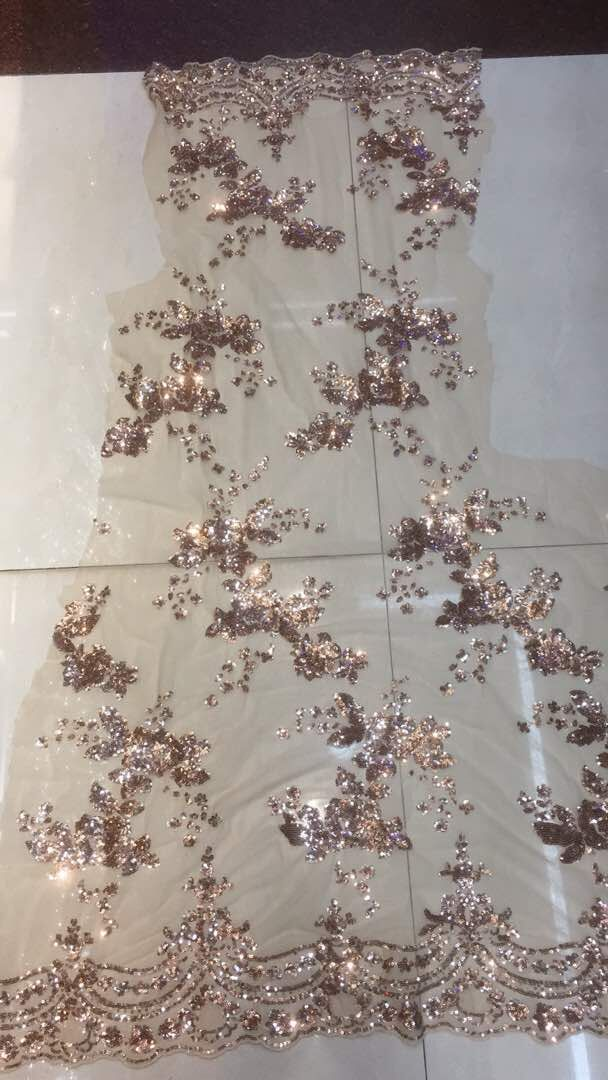 on sale Embroidery mesh fabric high quality sequins tulle lace fabric