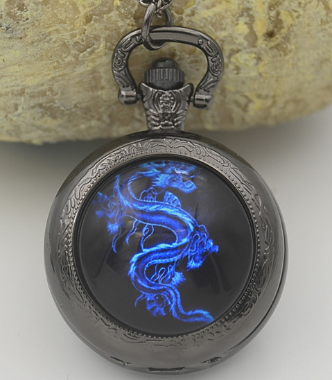Fiery Blue Dragon Quartz Pocket Watch Necklace Woman Lady Black Silver Bronze Fob Watches Fire Family Crest The Game Of Thrones