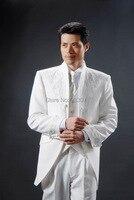 Custom Made New Style Stand Collar Groom Tuxedos white Best Groomsman Men Wedding Suits Bridegroom Jacket+Pants+Tie+Vest