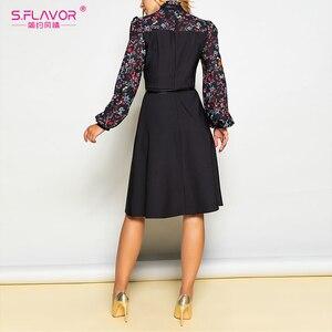 Image 4 - S. טעם נשים סתיו חורף בציר אונליין שמלת לא חגורה אלגנטית פרח הדפסת טלאים ארוך שרוול שמלת המפלגה Vestidos