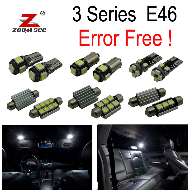 17 pcs LED Interior Light Kit + lampu plat untuk BMW 3 series E46 Sedan Coupe M3 318i 318ti 323i 323is 325i 325xi (99-05)