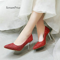 Women Slip On With Sexy Thin High Heel Lazy Shoes Fashion Sequins Pointed Toe Dress Party Shoes Red Pink Gold Silver