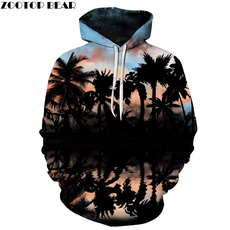 Palm Tree Printed 3D Hoodies Men Sweatshirts Fashion Pullover Hooded Jackets Novelty Streetwear Skateboard Tracksuits Unisex