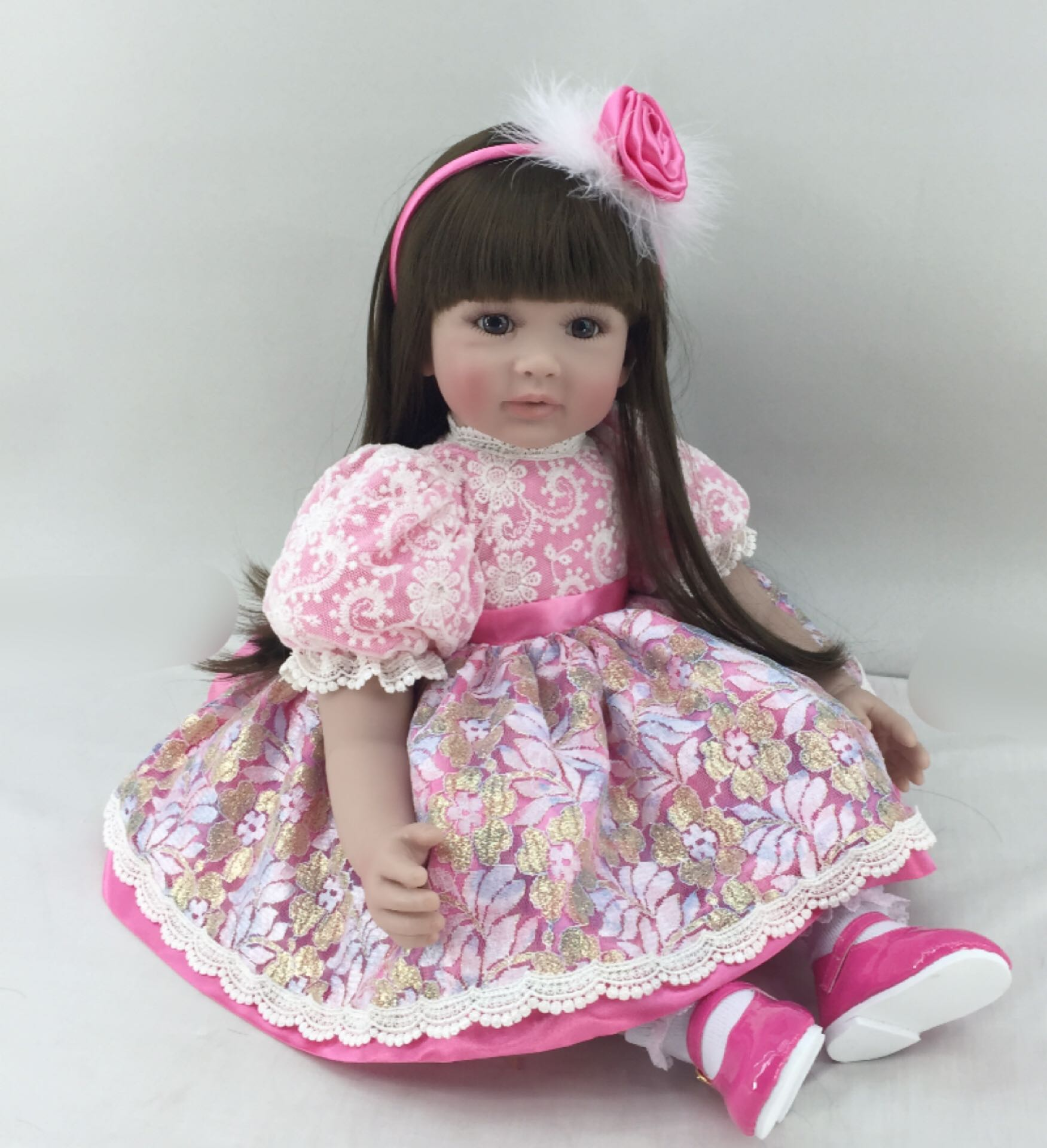22inch soft Vinyl Lifelike Reborn Baby Doll Girl Christmas Toy Gift for Children Long Hair Princess Pink Dress Kids Playmates22inch soft Vinyl Lifelike Reborn Baby Doll Girl Christmas Toy Gift for Children Long Hair Princess Pink Dress Kids Playmates