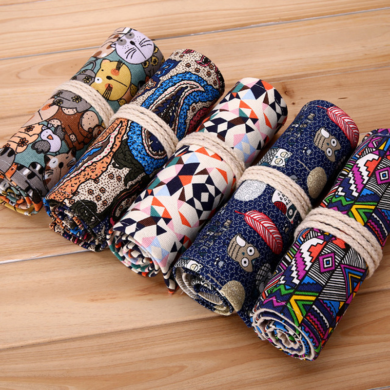 36/48/72 Holes Handmade Curtain Pencil Bag Canvas Colors Pencils Case Wrap Roll Up Students School Stationery Gift Retro Vintage 72 holes canvas pencil case folded brush holder pouch case with zipper storage pockets bag gifts school stationery art supplies