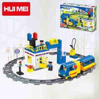 Original HUIMEI 59pcs City Electric Train Track Station Policeman Building Blocks Set Brick Baby Toys Compatible