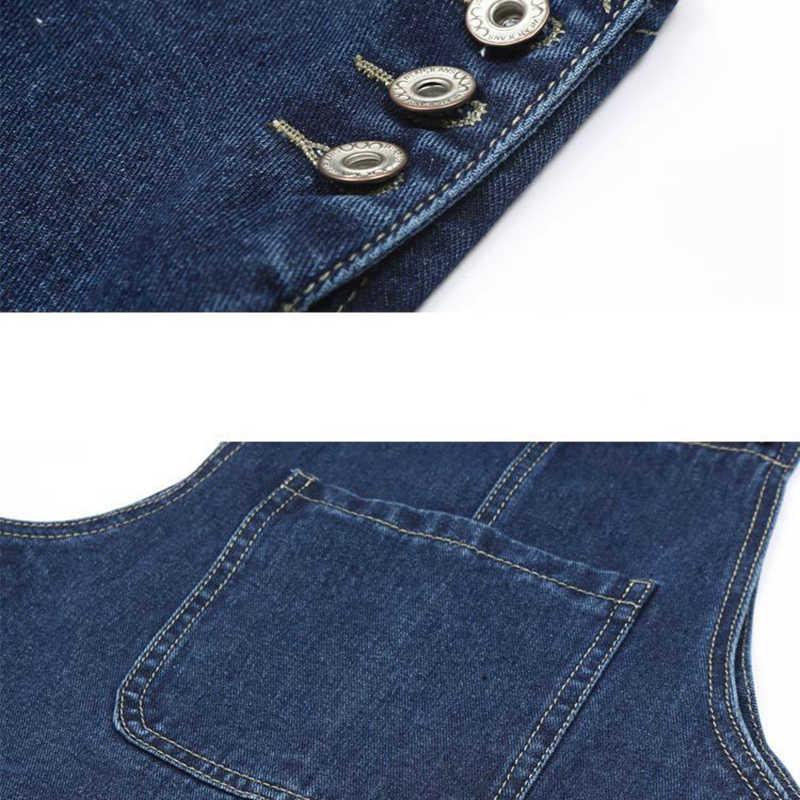 Voobuyla летнее женское джинсовое платье Сарафан повседневные Свободные Комбинезоны платья Женские однотонные регулируемые ремень джинсовое платье плюс размер 4XL
