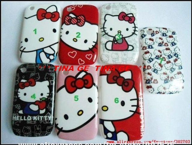 Wholesale Colorful cartoon hello kitty Hard Cover Back Case for Blackberry BB 8520 8530 Free shipping