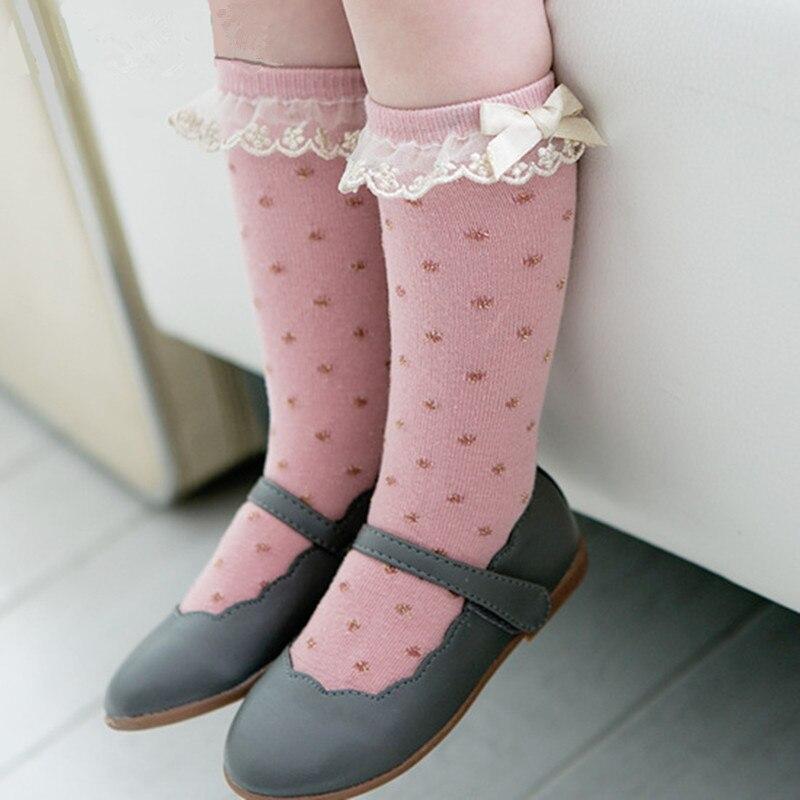 5-Pack Knee High Socks Cotton Baby Girls Socks Bow High School Uniform Socks