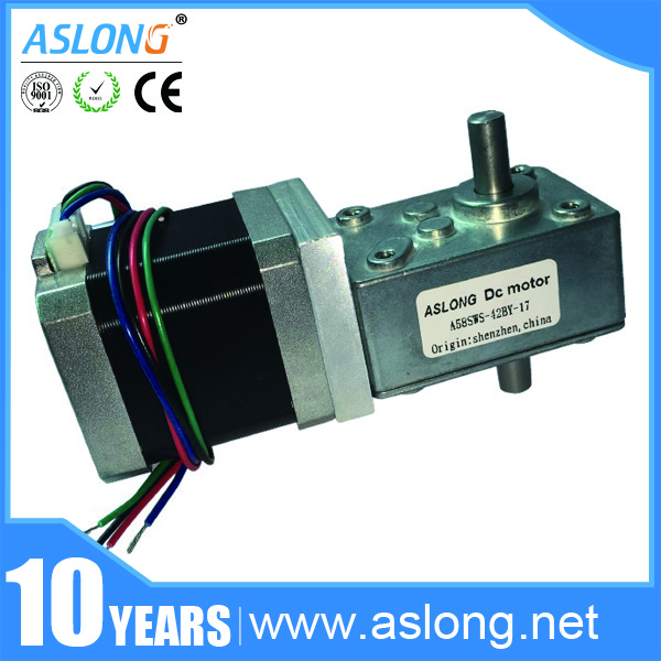 A58SW-42BY 12Volt DC Stepping Geared Motor Dual Output Shaft 24V 4-wire Worm Stepper Reduction Motor High Torque Self-locking