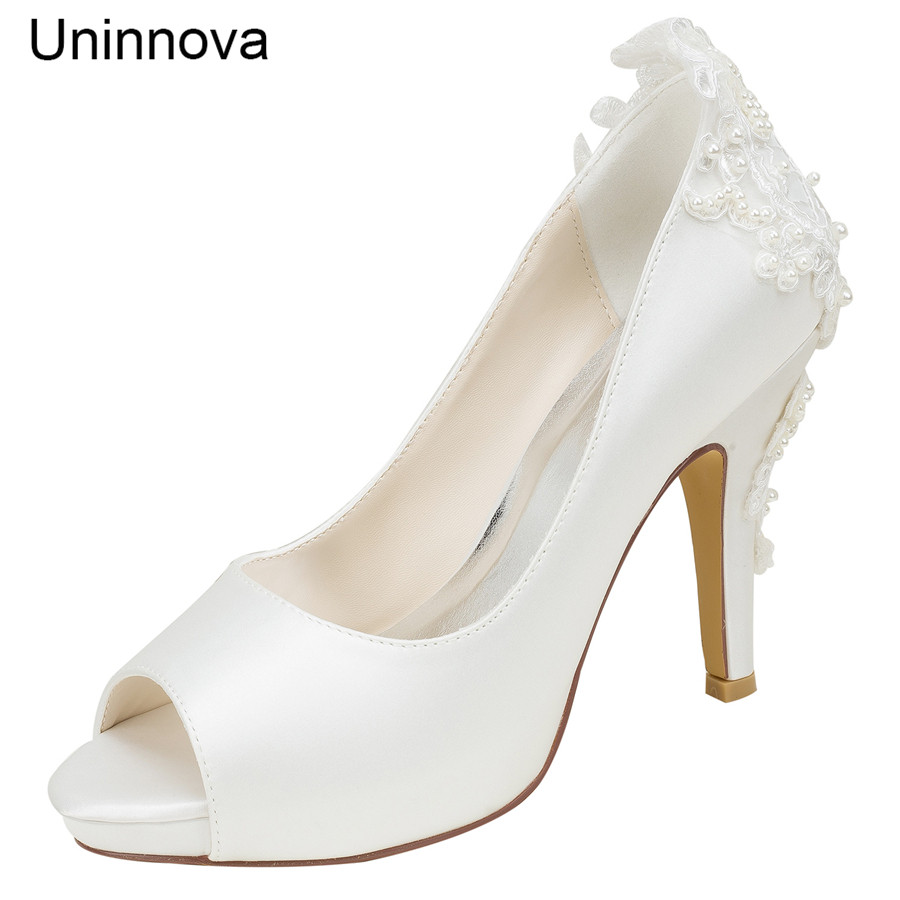 Ivory White Bridal Bridesmaid Shoes Peep Toe Elegant Platform Lace Wedding Heels Satin High Pumps Uninnova