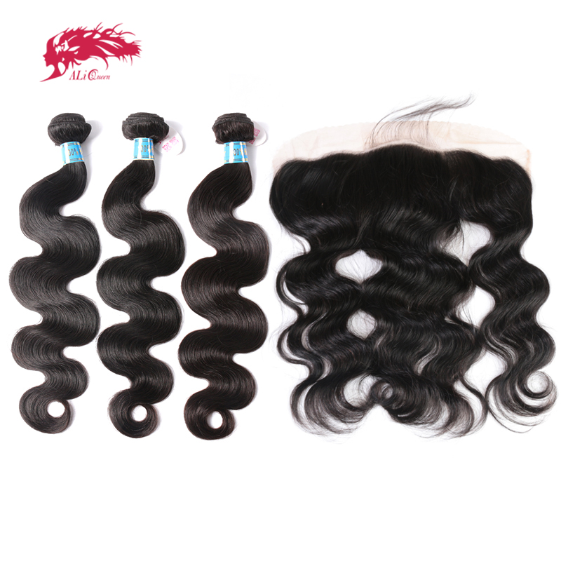 Ali Queen Hair 13x4 Lace Frontal Closure With 3 Bundles Peruvian Body Wave Human Hair Bundles