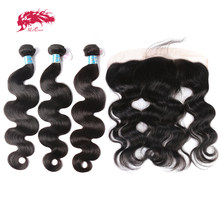 Ali Queen Hair 13x4 Lace Frontal Closure With 3 Bundles Peruvian Body Wave Human Hair Bundles With Lace Closure Virgin Hair(China)