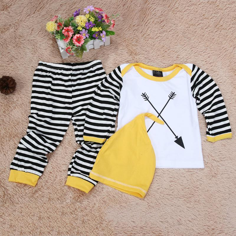 Spring Autumn Baby Boy Clothes 3PCS/Set Newborn Baby Girls Clothes Set 2018 Fashion Long Sleeve T Shirt +Pant+Hat Clothes Outfit