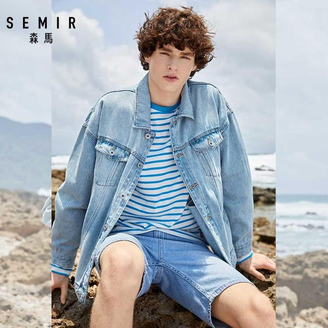 SEMIR denim Jacket men coat dark Blue Casual Teens Denim Jacket cotton Turn-down Collar Long Sleeve Denim Bomber jackets man 3
