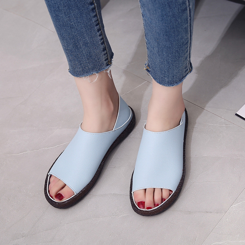 Summer Sandals Women Plus Size Flats Casual Peep Toe Shoes Faux Suede Slip On Elastic Band Leisure Solid Footwear Yasilaiya in Low Heels from Shoes