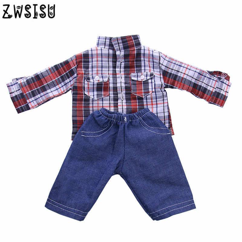 Модная Милая Одежда для кукол рубашка в клетку + джинсы для 18 дюйма Logan мальчик куклы аксессуары игрушки Детская лучший подарок к празднику n1311