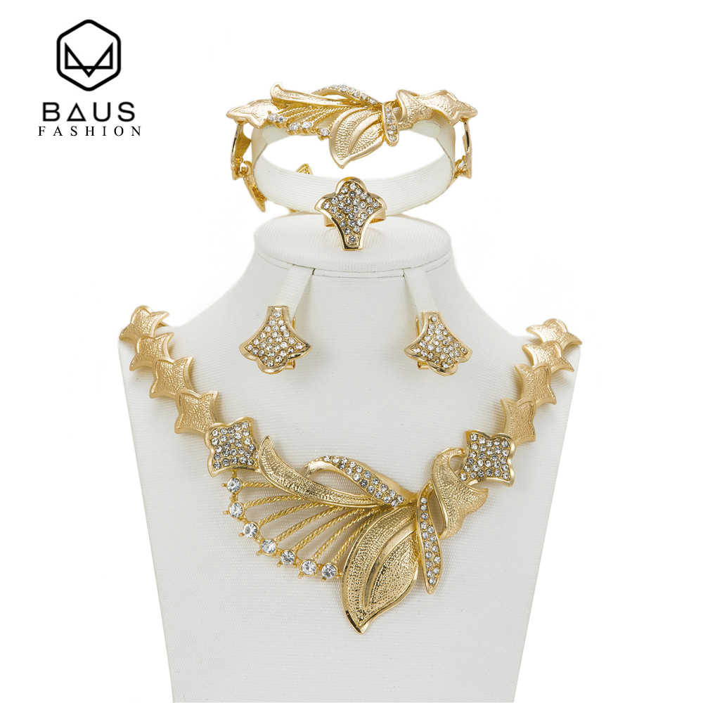 BAUS 2017 אופנה חתונת עגילי שרשרת צבע זהב תכשיטי דובאי אפריקה ניגריה אפריקה-סטי תכשיטי כלה אישה רומנטית