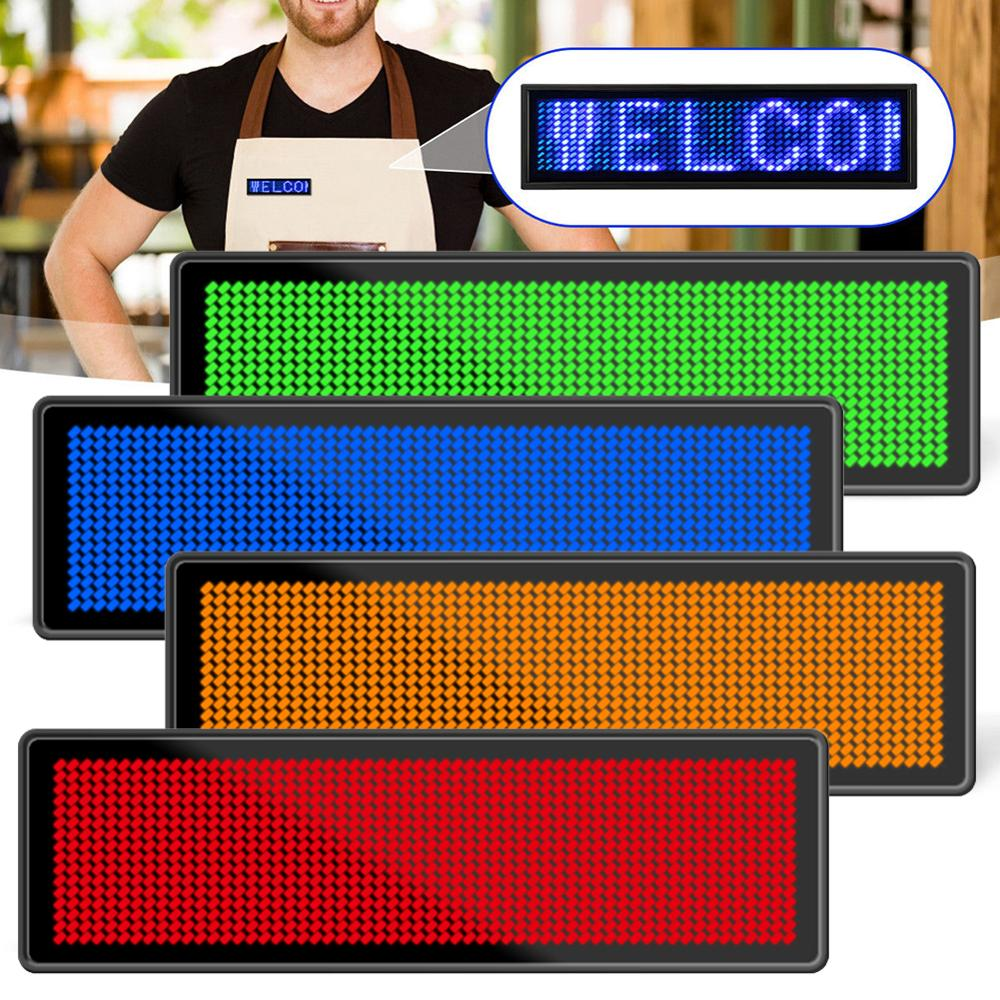 7 Colors Programmable Mini LED Digital Rechargeable Scrolling Name Message Tag Sign Adjustable 4 Levels Brightness Chest Card