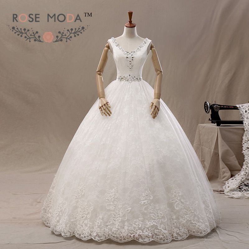 V Neck Tulle over Lace A Line Wedding Dress Crystal Sash Lace Up Bridal Gown Vestidos de Noiva Real Photos