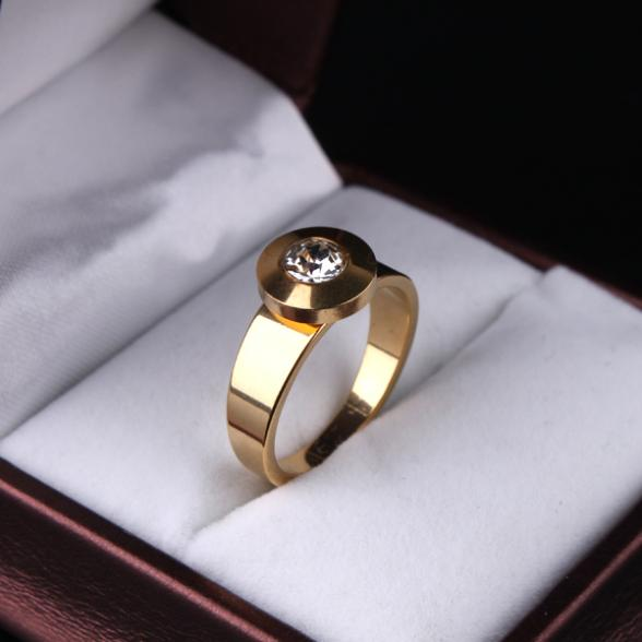 free shipping Round zircon CZ  gold color 316L Stainless Steel rings women  jewelry size 7 8 9 10 11  wholesale lots