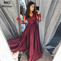 2019 Burgundy Prom dresses Long with Long Sleeves Lace V Neck dress for graduation Evening Dresses Prom Gown for Women
