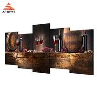 Artryst 5 painel de arte da parede vinho tinto HD impressos em lona pintura moderna sala de visitas home decoração da parede de 5 peças de um conjunto com quadro