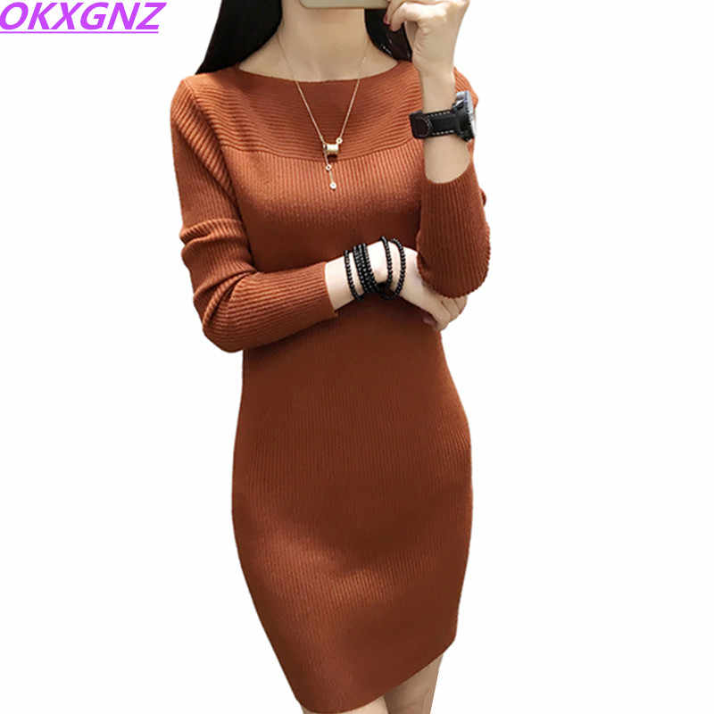 2018 automne hiver femmes pull robe chaud pulls pull élastique mince tricoté robe fond Sexy femmes robe OKXGNZ 339