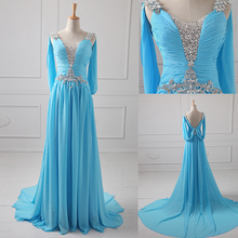 New 2017 Arrival Sparkle Beading Vertically Soutache Trim Brush Chiffon Evening Gown Sexy Backless women formal dresses