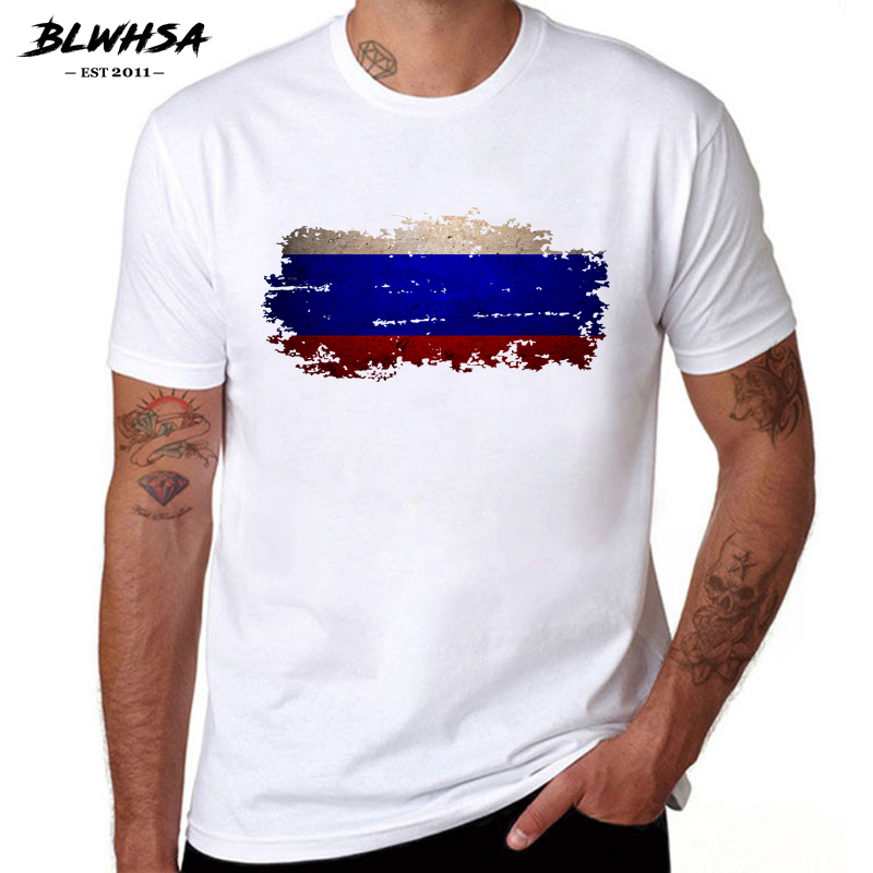 BLWHSA Russia Flag Printing   T     shirt   Men Casual Fashion Short Sleeve Summer   T  -  shirts   Cool Men Russian flag Funny Tees