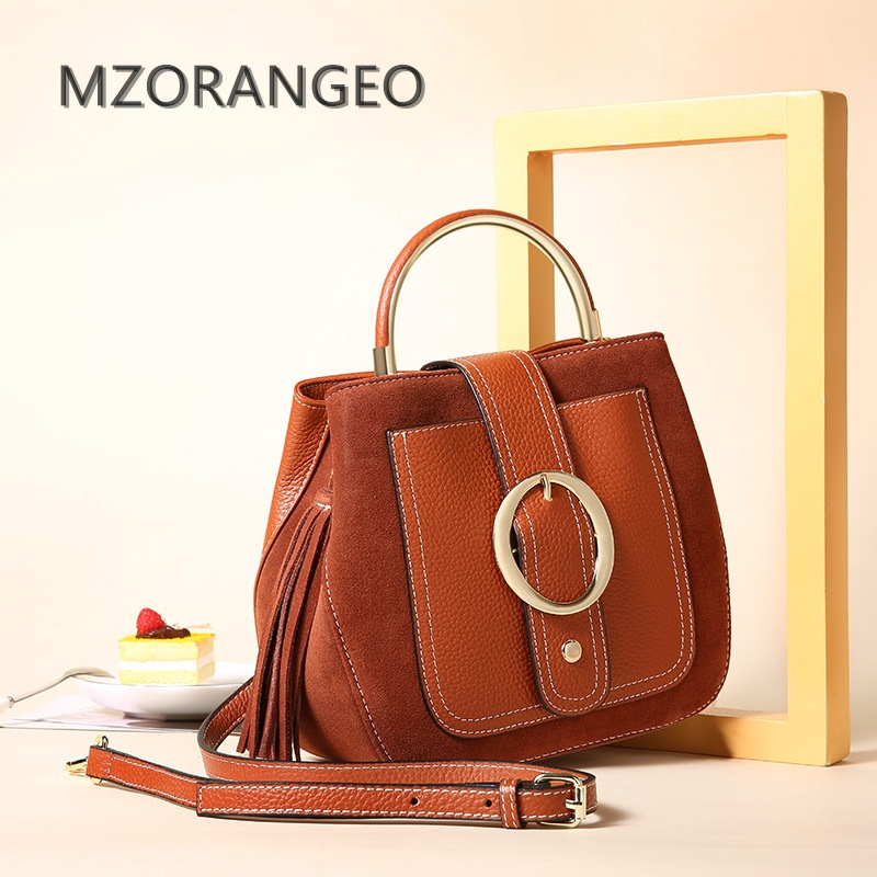 MZORANGE Genuine Leather Women Handbag Messenger Bag Suede Shoulder Crossbody Bag Ladies Fashion Design Top Quality Tassel Tote стоимость