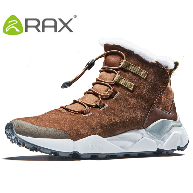 2018 RAX Outdoor Hiking Boots For Men Breathable Snow boots Man Leather Walking Shoes Hiking Shoes Fleece Winter Boots