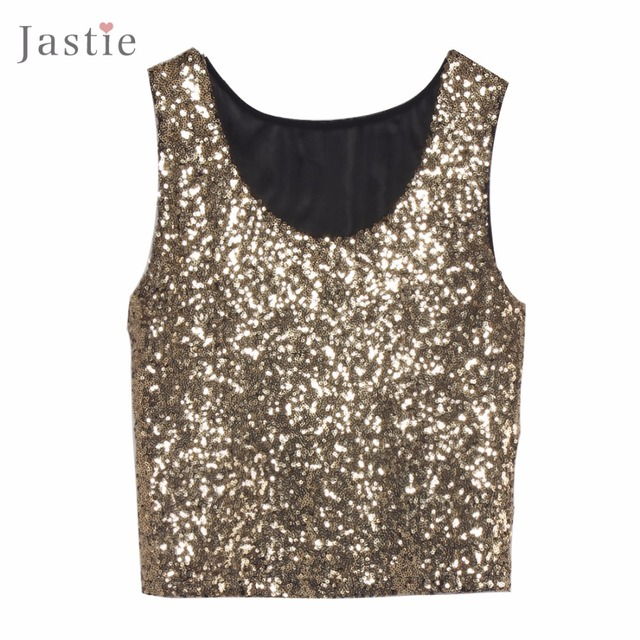 2016 New Sexy Bling Women Sequin Tank Top Slim O-Neck Sleeveless Solid Color Sequins Crop Tops Vest Mesh Back Blusa