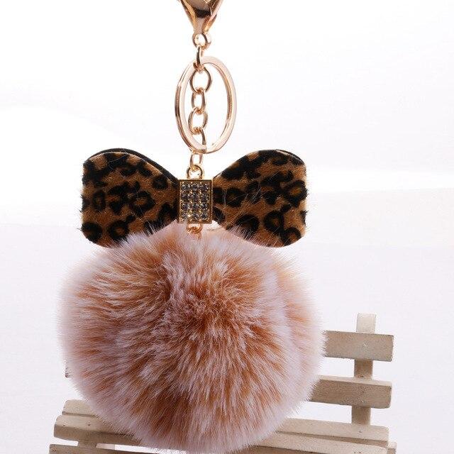 Fofo estampa de Leopardo Arco Pom Pom Pele De Coelho Bola Pompom Keychain Chave Chave Anéis Da Cadeia Chaveiro porte claves llavero Saco chaveiro